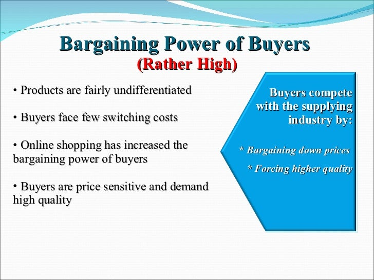 bargaining power of buyers An important force within the five forces model is the bargaining power of suppliers all industries need raw materials as inputs to their process this includes labor for some, and parts and components for others this is an essential function that requires strong buyer and seller relationships.