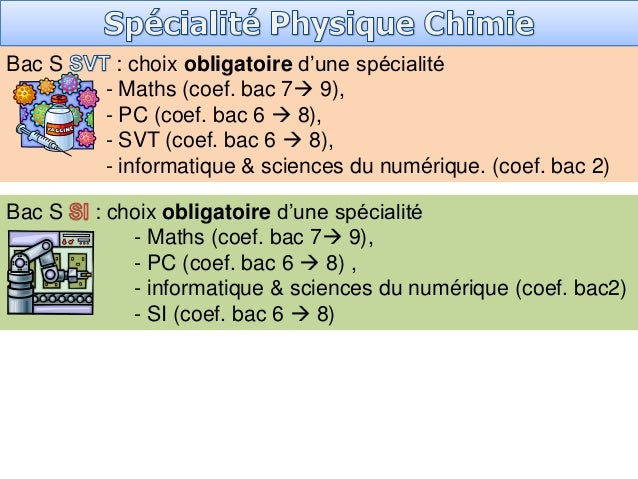 Bac S : choix obligatoire d'une spécialité - Maths (coef. bac 7 9), - PC (coef. bac 6  8), - SVT (coef. bac 6  8), - in...