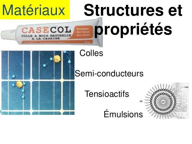 Matériaux Structures et propriétés Colles Semi-conducteurs Tensioactifs Émulsions