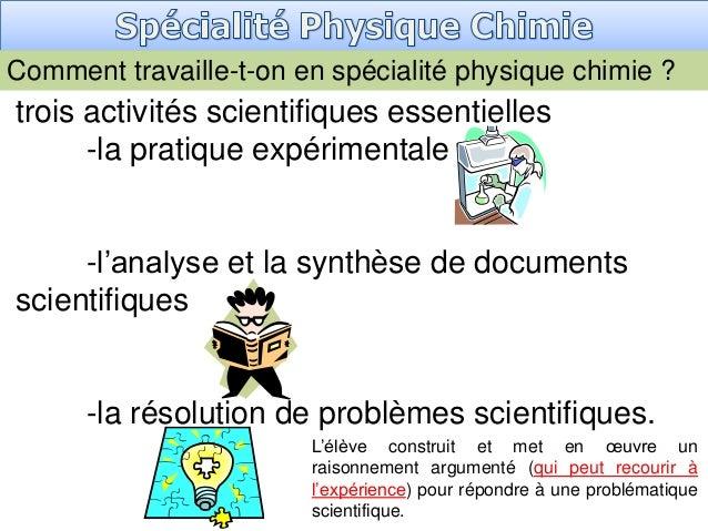 Comment travaille-t-on en spécialité physique chimie ? trois activités scientifiques essentielles -la pratique expérimenta...