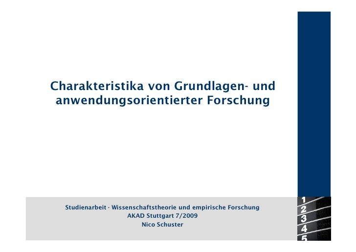 Charakteristika von Grundlagen- und  anwendungsorientierter Forschung       Studienarbeit - Wissenschaftstheorie und empir...