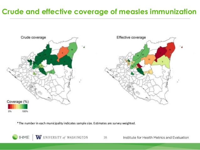 28 Crude and effective coverage of measles immunization *The number in each municipality indicates sample size. Estimates ...