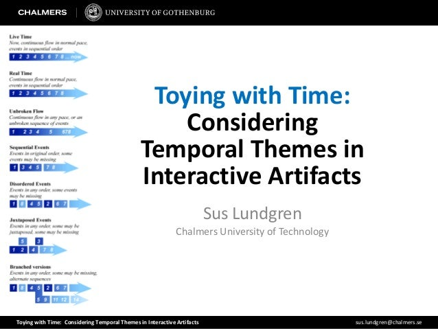 Toying with Time: Considering Temporal Themes in Interactive Artifacts sus.lundgren@chalmers.seToying with Time:Considerin...