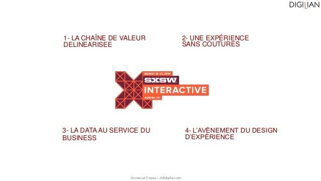 Emmanuel Fraysse – ef@digilian.com 1- LA CHAÎNE DE VALEUR DELINEARISEE 3- LA DATA AU SERVICE DU BUSINESS 2- UNE EXPÉRIENCE...