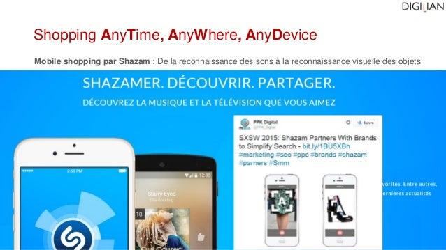 Mobile shopping par Shazam : De la reconnaissance des sons à la reconnaissance visuelle des objets Shopping AnyTime, AnyWh...