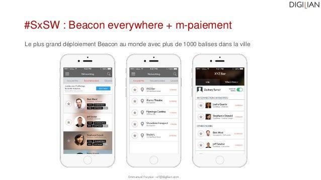 Emmanuel Fraysse – ef@digilian.com #SxSW : Beacon everywhere + m-paiement Le plus grand déploiement Beacon au monde avec p...