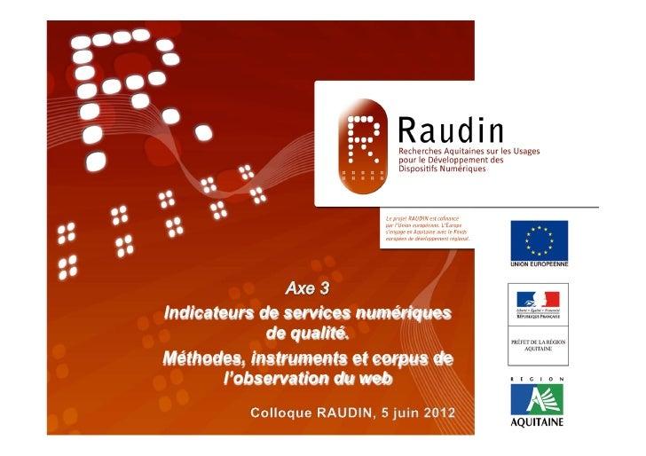 Programme de Recherche                      RAUDIN                   « TITRE »                        Séminaire RAUDIN, 14...