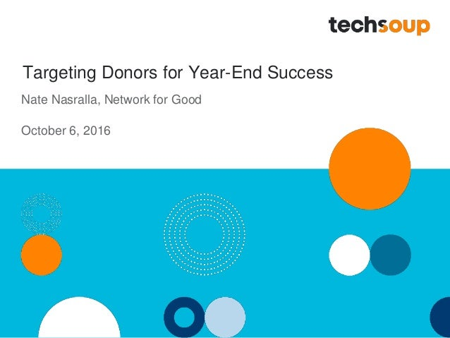 Targeting Donors for Year-End Success Nate Nasralla, Network for Good October 6, 2016