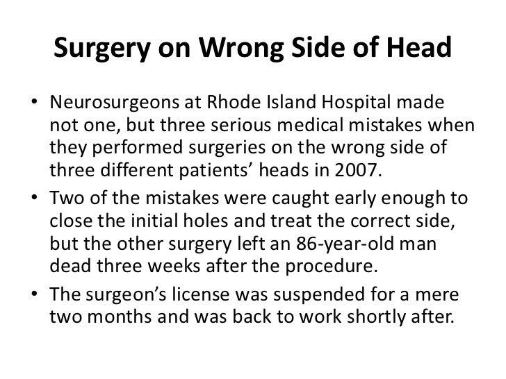 Rhode Island Wrong Side Surgery