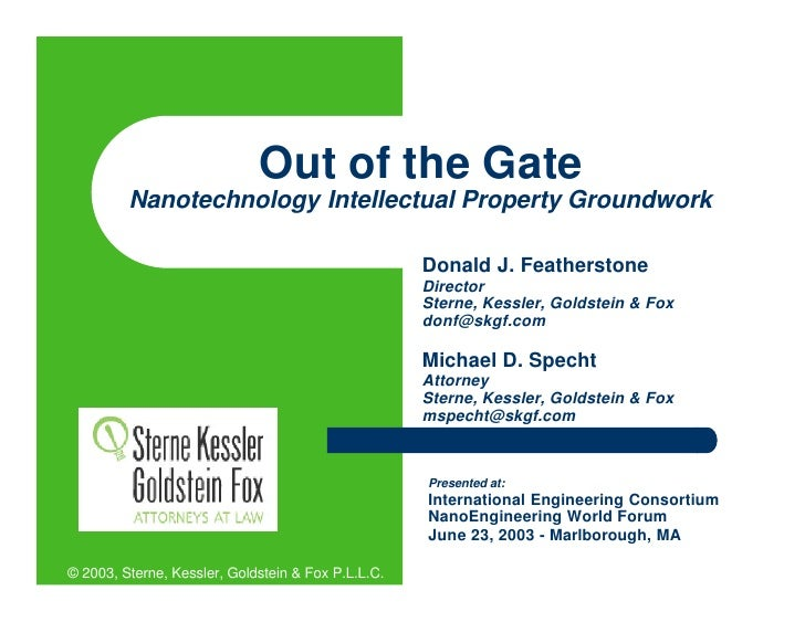 Out of the Gate          Nanotechnology Intellectual Property Groundwork                                                  ...