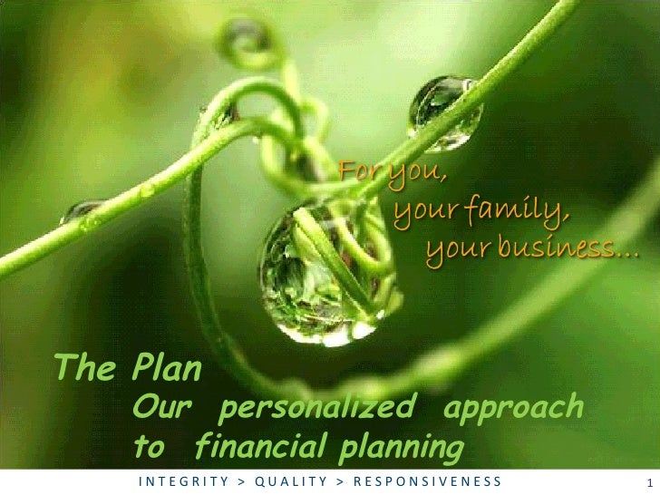 Our  personalized  approach  to  financial planning The Plan