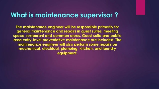 61 Maintenance Supervisor Duties