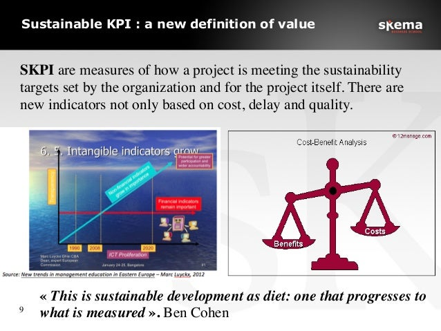 Sustainable KPI : a new definition of value 9  «This is sustainable development as diet: one that progresses to what is ...