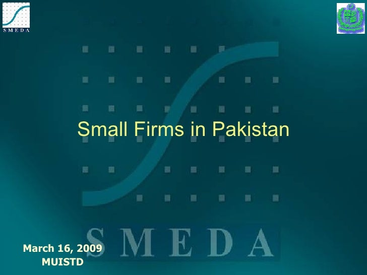 Small Firms in Pakistan March 16, 2009 MUISTD