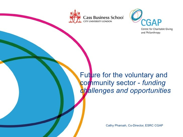 Future for the voluntary and    community sector -  funding    challenges and opportunities   Cathy Pharoah, Co-Director, ...