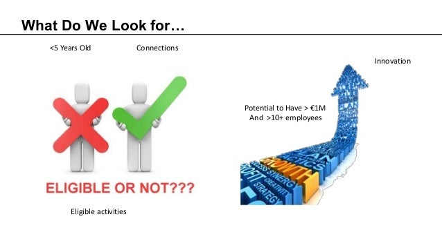 What Do We Look for… <5 Years Old Connections Eligible activities Innovation Potential to Have > €1M And >10+ employees