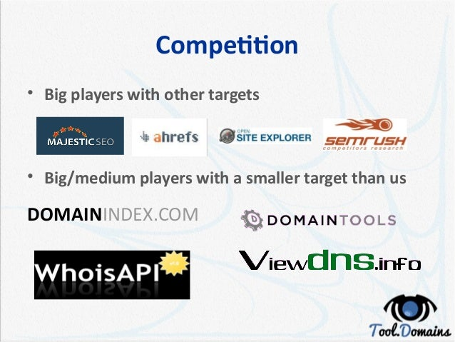 Competition • Big players with other targets • Big/medium players with a smaller target than us DOMAININDEX.COM