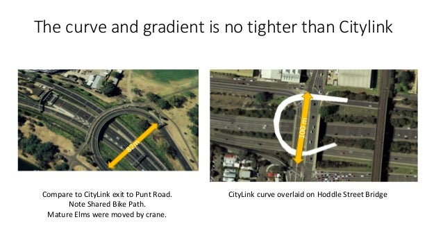 The curve and gradient is no tighter than Citylink  Compare to CityLink exit to Punt Road.  Note Shared Bike Path.  Mature...