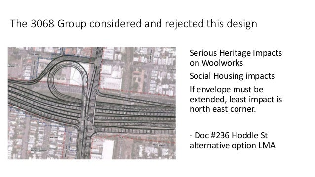 The 3068 Group considered and rejected this design  Serious Heritage Impacts  on Woolworks  Social Housing impacts  If env...