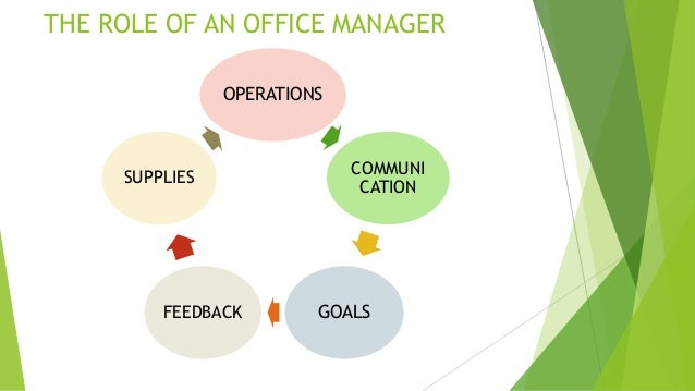the role of an office manager operations communi cation goalsfeedback supplies 8 specific duties