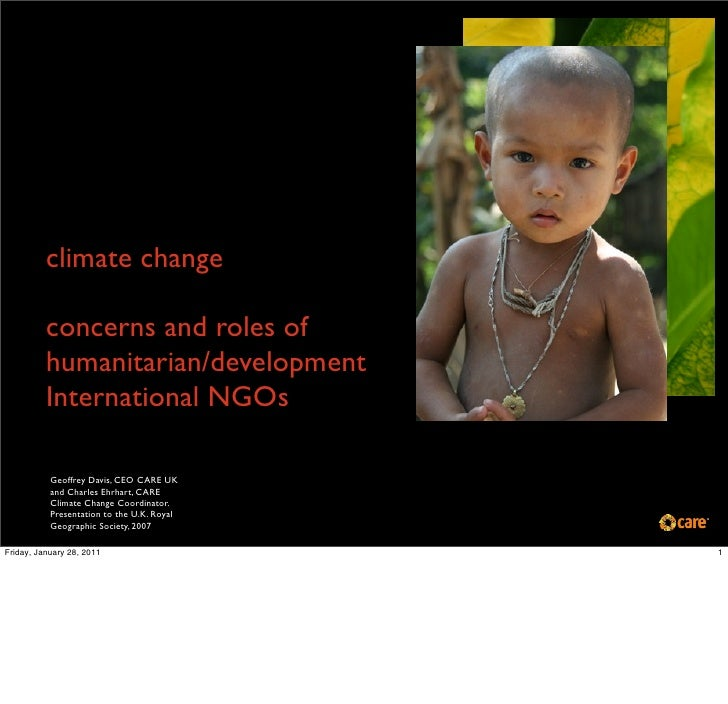 climate change          concerns and roles of          humanitarian/development          International NGOs           Geof...