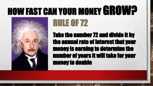 $10K in Fixed Deposit 3% 72/3 = $20K in 24 years $10K in Any (4%-6%) 6% 72/6 = $20K in 12 years $10K in Unit Trust 8% 72/8...