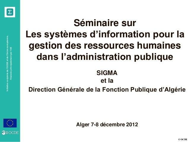 © OCDE Initiativeconjointedel'OCDEetdel'Unioneuropéenne, financéeprincipalementparl'UE Séminaire sur Les systèmes d'inform...