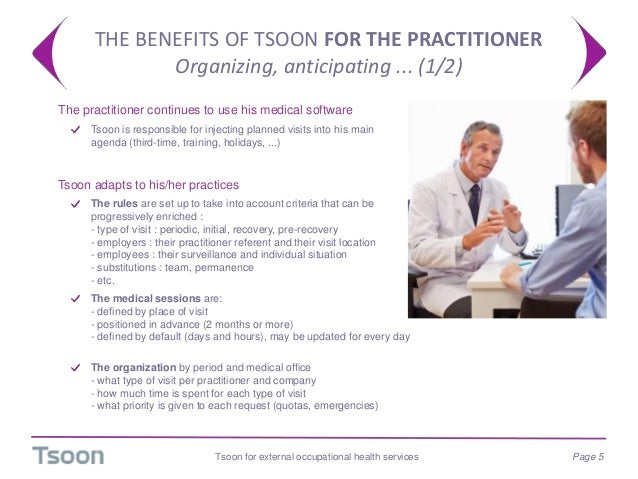 THE BENEFITS OF TSOON FOR THE PRACTITIONER Organizing, anticipating ... (1/2) Tsoon for external occupational health servi...