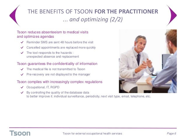 THE BENEFITS OF TSOON FOR THE PRACTITIONER ... and optimizing (2/2) Tsoon for external occupational health services Page 6...