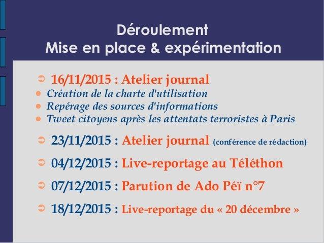 Déroulement Mise en place & expérimentation ➲ 16/11/2015 : Atelier journal ● Création de la charte d'utilisation ● Repérag...