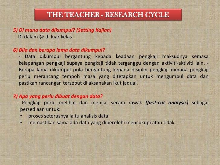 THE TEACHER - RESEARCH CYCLE<br />5) Di mana data dikumpul? (Setting Kajian)<br />    Di dalam@ diluarkelas. <br /><br />...