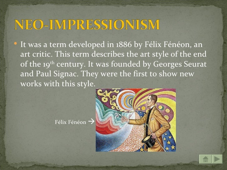 impressionism vs post impressionism Now that we've identified the key ideas and features of impressionism, we can learn about post-impressionism started: early 1880's ended: 1914 meet some of the artists.