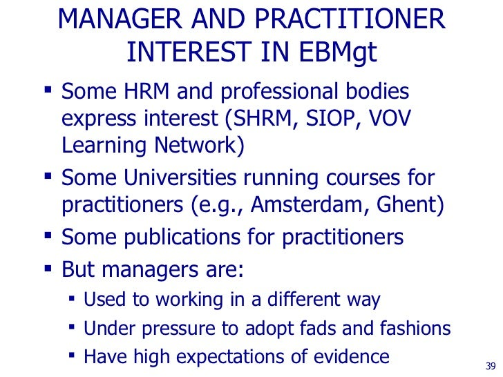 Evidence Based Human Resource Management