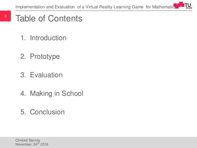 Implementation and Evaluation of a Virtual Reality Learning Game for Mathematics Slide 2