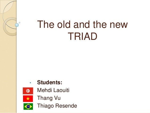 The old and the new TRIAD • Students: • Mehdi Laouiti • Thang Vu • Thiago Resende