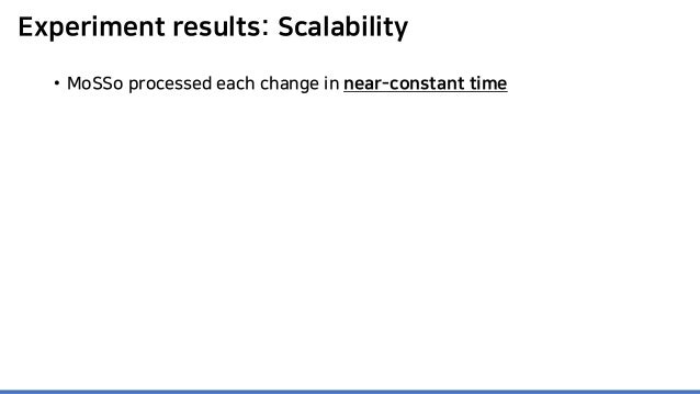 Experiment results: Scalability • MoSSo processed each change in near-constant time