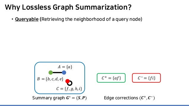 Why Lossless Graph Summarization? • Queryable (Retrieving the neighborhood of a query node) 𝐶𝐶+ = 𝑎𝑎𝑎𝑎 𝐶𝐶− = 𝑓𝑓𝑖𝑖 Summary ...
