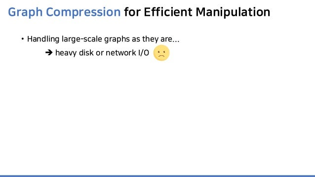 Graph Compression for Efficient Manipulation • Handling large-scale graphs as they are...  heavy disk or network I/O