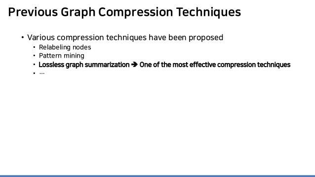 Previous Graph Compression Techniques • Various compression techniques have been proposed • Relabeling nodes • Pattern min...