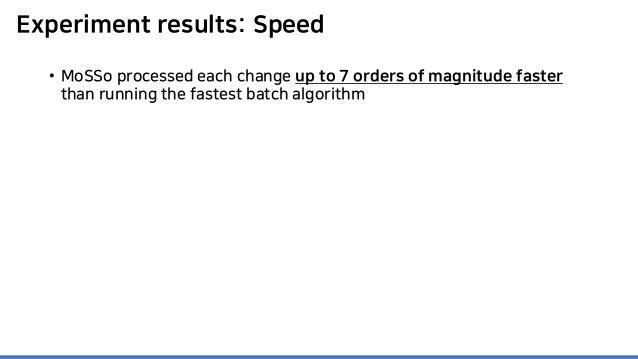 Experiment results: Speed • MoSSo processed each change up to 7 orders of magnitude faster than running the fastest batch ...