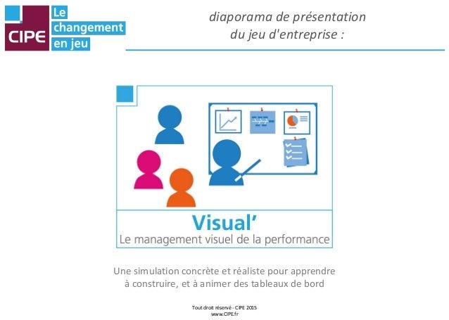 Tout droit réservé - CIPE 2015 www.CIPE.fr diaporama de présentation du jeu d'entreprise : Une simulation concrète et réal...