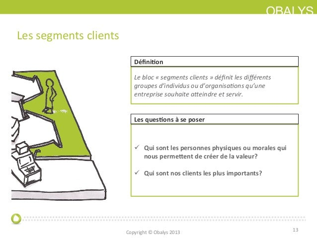 OBALYSLes segments clients 13 Le bloc « segments clients » définit les différents groupes d'indi...