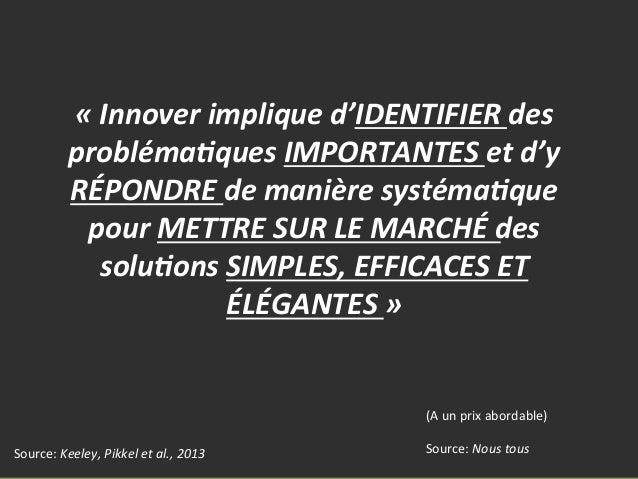 OBALYS« Innover implique d'IDENTIFIER des probléma;ques IMPORTANTES et d'y RÉPONDRE de manière sys...