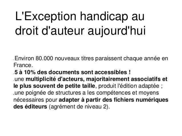 Environ 80.000 nouveaux titres paraissent chaque année en France. 5 à 10% des documents sont accessibles ! une multiplicit...