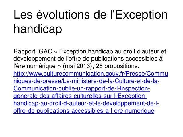 Rapport IGAC « Exception handicap au droit d'auteur et développement de l'offre de publications accessibles à l'ère numéri...