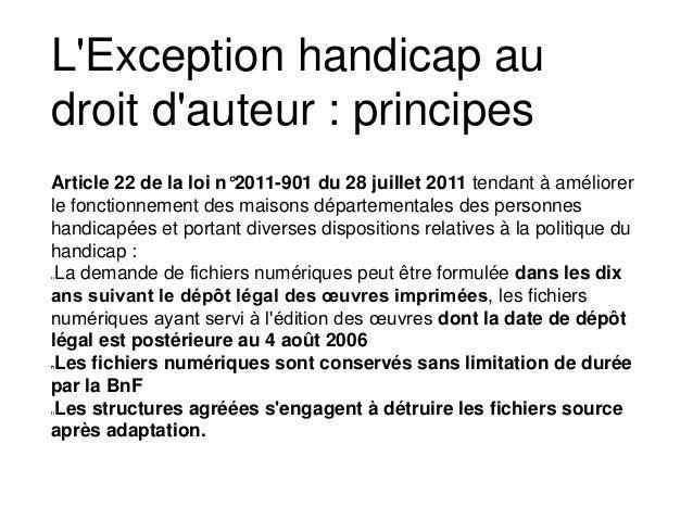 Article 22 de la loi n°2011-901 du 28 juillet 2011 tendant à améliorer le fonctionnement des maisons départementales des p...