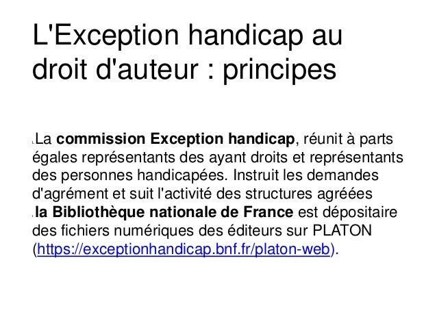 La commission Exception handicap, réunit à parts égales représentants des ayant droits et représentants des personnes hand...