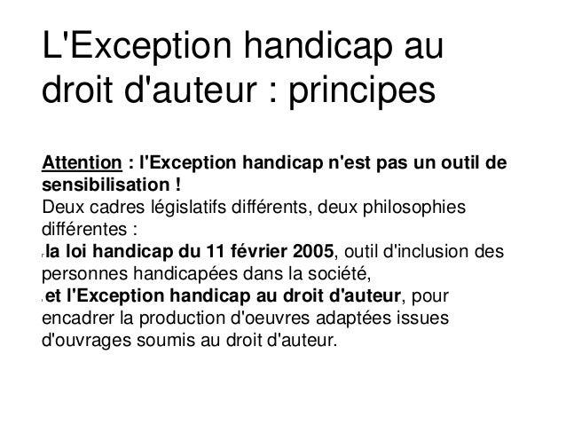 Attention : l'Exception handicap n'est pas un outil de sensibilisation ! Deux cadres législatifs différents, deux philosop...
