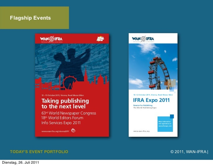 Flagship Events    TODAY'S EVENT PORTFOLIO   © 2011, WAN-IFRA |Dienstag, 26. Juli 2011