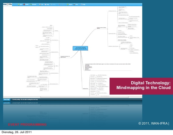 Digital Technology:                          Mindmapping in the Cloud    EVENT PROGRAMMING              © 2011, WAN-IFRA |...